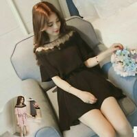 Summer Lace Dress Fashion Korean Women  Loose Casual Short Sleeve Dress