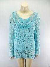 Ladies 2 in 1 Italian Long Sleeve Crochet Top Tunic Lace Mesh One Size Plus Sky Blue