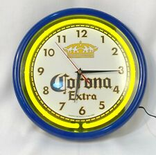 Corona Extra Beer Cerveza Round 12 Inch Neon Lighted Wall Clock Bar Sign