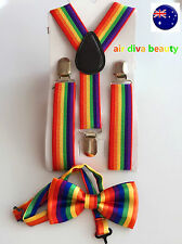 Kid Child Baby Costume Party Rainbow Colorful Stripe Brace Suspender Bowtie Set