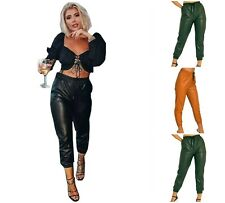 Women Wet Look PVC Shiny Leather Joggers Trousers Ladies Wet Look Cuffed Bottom