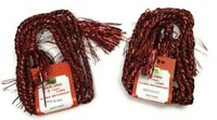 Vintage Christmas Traditions Garland Foil Rope Cord Tinsel Tassels Red 2 pks