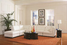 CONTEMPORARY WHITE BONDED LEATHER MODULAR SOFA SECTIONAL FURNITURE SET