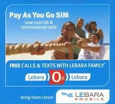 Uk Gsm prepaid Sim card-Lebara mobile 1+10 Euro (Vodafone towers)