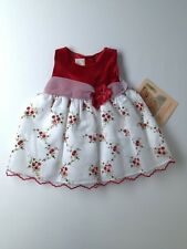 New Baby Girl Que Hermosa Red Velour Floral Holiday Dress Size 12 Months