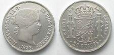 SPAIN 20 Reales 1858 Seville ISABEL II silver VF-XF SCARCE! # 96614