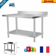 Table De Travail Adossee Plan De Travail Etagere Acier Inox Dossier 100x60x95cm