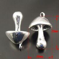 7X Vintage Style Antique Silver Color Hot Sale Mushroom Pendant Charm 25*20*20mm