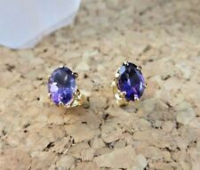 1.50ctw Genuine Amethyst Oval Stud 22k Gold over Sterling Silver Earrings #472