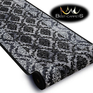 THICK Runner Rugs ROMANCE grey modern NON-slip Stairs Width 67-100cm extra long