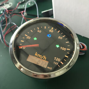 0~125km/h GPS Speedometer IP67 Panel Stainless Steel Bezel for Motorcycle Boat