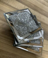 SILVER BLING CRUSHED DIAMOND ELEGANT STUNNING SET OF 4 MIRROR SHINE COASTERS