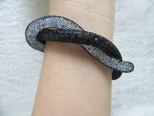 12X Twisted Black Rhineston Wrap Mesh Magnetic Clasp Bracelet Bangle