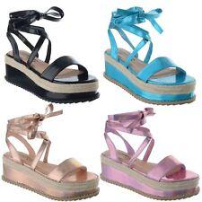Mujer señoras Alpargata Cuña de plataforma plana Sandalias acordonadas al Tobillo Zapatos Talla