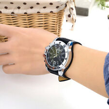 Large dial Watch Face Wide Band Men Boy Wristwatch PU Leather Stainless Steel EM