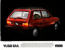 1988 Yugo GVL  2 side Car Brochure   Rare Hard to Find