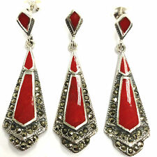GRAND ART DECO RED CORAL MARCASITE SET PENDANT EARRING 925 STERLING SILVER