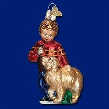 BOY RED SWEATER & GOLDEN RETRIEVER OLD WORLD CHRISTMAS GLASS ORNAMENT NWT 24139