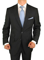 Signature Italian Wool Silk Mens Suit Black