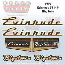 1957 Evinrude 35 HP Big Twin Outboard Repro 6 Pc Marine Vinyl Decals 25028-25029