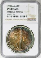 1990 $1 American Silver Eagle NGC  ( Beautifully Art. Toned ) ASE