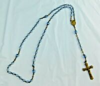 Vintage Rosary Cross And Center With Blue Glass Beads INRI