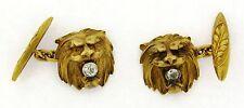 Antique Art Nouveau Diamond Lion 18k Yellow Gold Cufflinks