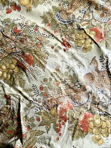 """20 Yards Polished Cotton Fabric Quail Fruits and Berrys Wide 35"""" New A2L"""