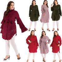 Islamic Women Long Sleeve Tops Maxi Dress Shirt Blouse Tunic Arab Muslim Abaya
