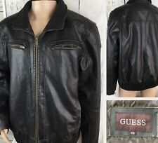 GUESS Jacket Moto Faux Leather Distressed Full Zip Brown Rider Men 2XL Lined