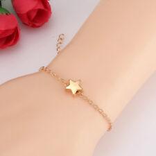 Chapado en Oro Pentagram Estrella Pulseras Simple Joya Moda Accesorios Mujer
