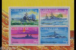 World War II Warships Souvenir Sheet mnh Gibraltar 1997 USS Iowa  HMS Enterprise