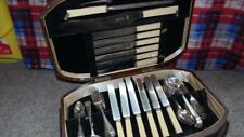 Rare Charles Usher Silversmith silverware set, Excelsis pattern Celluloid knives