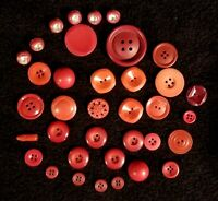 Fabulous Lot of 36 Assorted Red Vintage Buttons