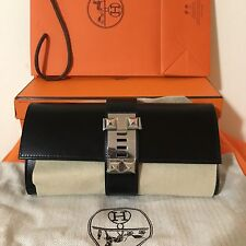 BNIB Authentic Hermes Medor Clutch Black Box Calf PHW