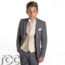 garçons costume gris, garçon d'honneur, bal pour , garçons, de mariage, or gilet