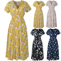Women's V Neck Floral Chiffon Short Sleeve Casual Party Vintage Boho Maxi Dress