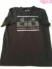 Mens Under Armour Short Sleeve T Shirt Black Medium Loose Fit Heat Gear