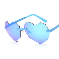 Trend Fashion Lady Eye Glasses Heart Lens No Frame Sunglasses Unique Personality