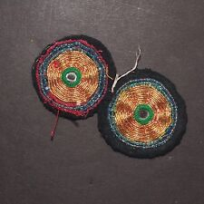 Matched PAIR BellyDance GUL Kuchi Tribal BEADED Medallions (XS) 838m2