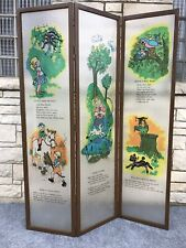 "Mid Century Modern Nursery Rhyme Lucite Panel Room Divider Screen - 71"" x 53"""