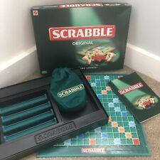 Scrabble 1999 Edition Original Green On Cream Tiles Board Game Complete Mattel