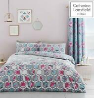 Catherine Lansfield Hexagon Floral Teal Duvet Cover Set or Curtains