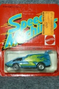 Mattel Speed Machines, Blue Spoiler Sport, Mint On Unpunched Card, 1883 Mal.