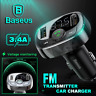 Baseus Handsfree Wireless Bluetooth 4.2 FM Transmitter Car Kit Dual USB Charger
