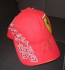 FERNANDO ALONSO HAND SIGNED RED FERRARI CAP UNFRAMED + PHOTO PROOF & C.O.A