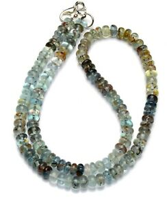 """Moss Aquamarine Necklace 6MM Size Smooth Rondelle Beads 16.5"""" Natural Beryl"""