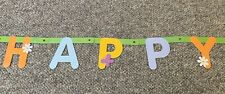 Happy Easter Banner Spell Out Bunny Rabbit Flowers Decor Party Egg Hunt (as is)