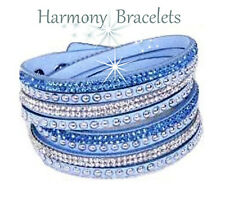 Baby Blue Swarovski Elements Wrap Slake Bracelet by Harmony Bracelets