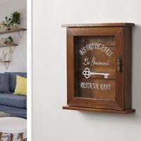 Wall Mounted Wooden Key Holder Cabinet Key Storage Box 6-Hook Type Brown